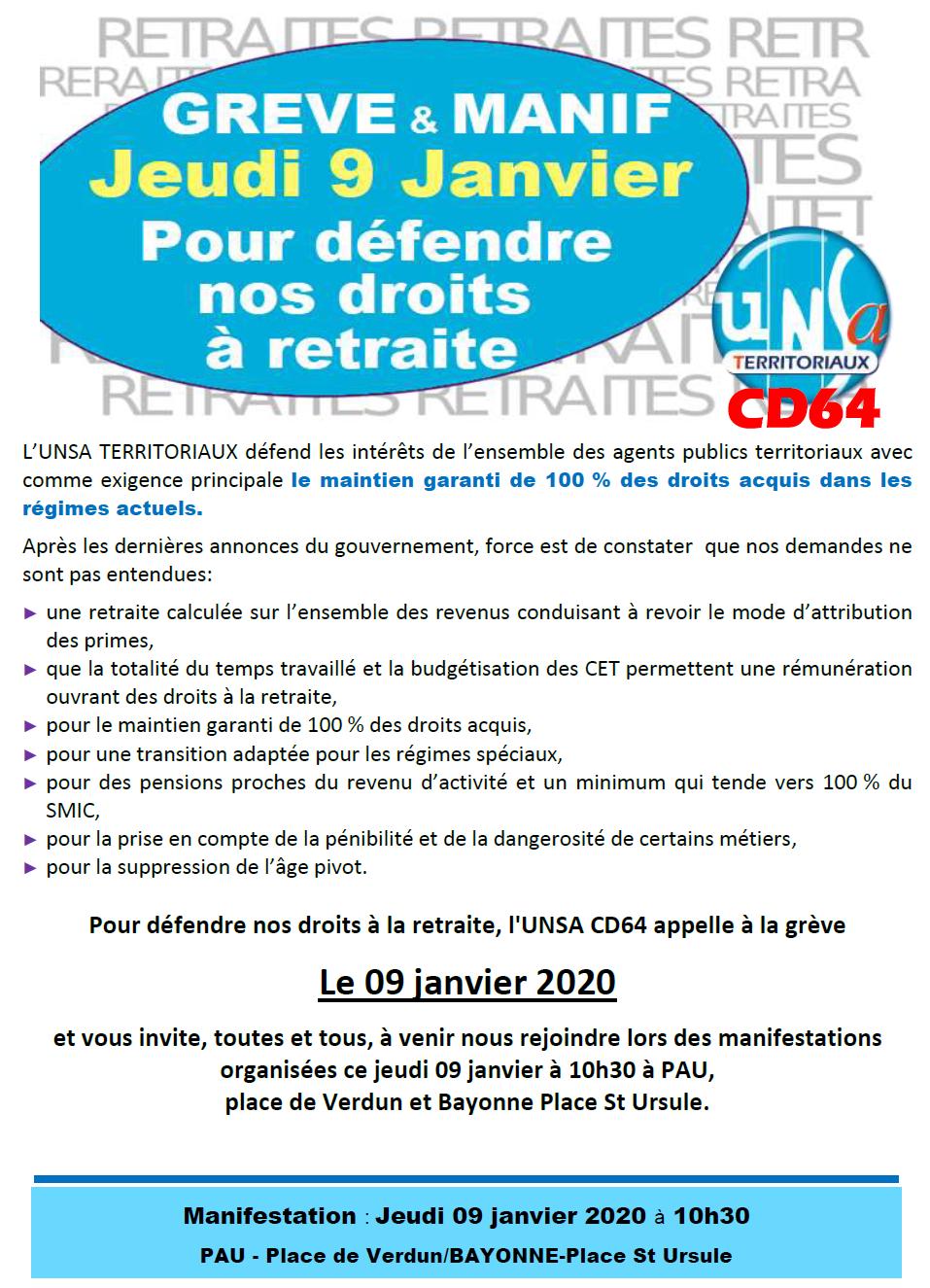 9 janvier 2020 : Grève et Manifestations avec l'UNSA CD64